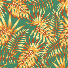 Fototapetapalm leaves retro color seamless pattern
