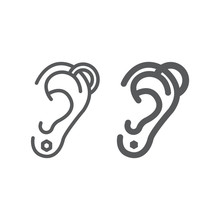Ear Piercing Line And Glyph Icon, Jewelry And Accessory, Pierced Ear Sign, Vector Graphics, A Linear Pattern On A White Background.
