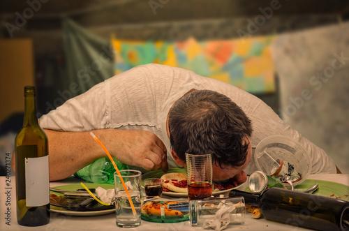 Fotografie, Obraz  Drunkest guy sleeps on the table