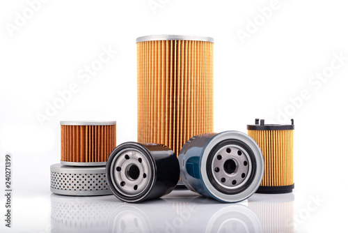Obraz Auto parts accessories :  Oil , fuel or air filter for engine car  isolated on white background. - fototapety do salonu