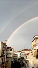 Double Rainbow Above The Houses, Greece