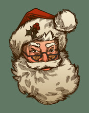 Santa Claus Face With Fluffy Beard And Hat And Glasses - Vintage Christmas Illustration