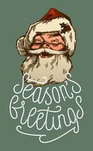 Santa Claus Smiling - Season's Greetings - Vintage Christmas Card
