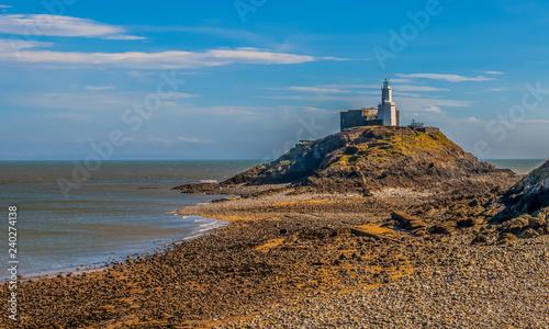 Garden Poster Lighthouse Mumbles Light - Low tide