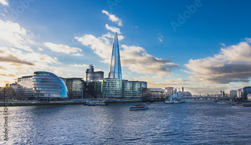View of Thames River from London Tower Bridge - Stock image Canvas Print