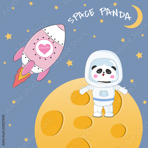 Cute funny bear panda astronaut standing on the moon.