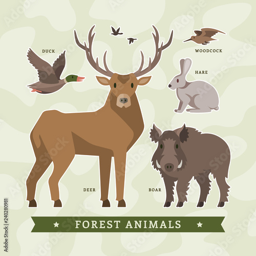 Fotografia, Obraz  Vector set of flat cartoon forest animals for hunting with deer, boar, hare, duck and woodcock