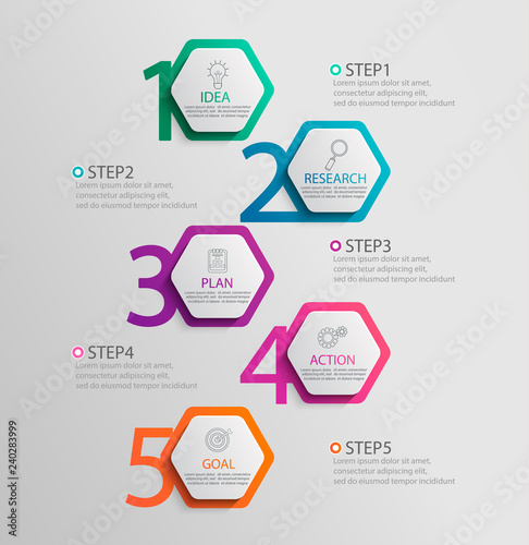 Paper vertical infographic template with 5 hexagon options for presentation and data visualization Canvas Print