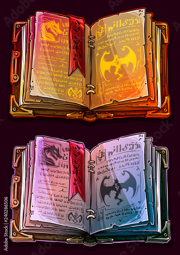 Cartoon colorful detailed old open magic spell books with dragons, strange symbols and bookmark Wallpaper Mural