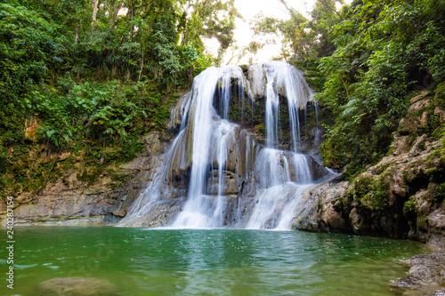 Obraz na plátně Beautiful Gozalandia Waterfall in San Sebastian Puerto Rico