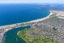 Aerial View Of Mission Beach Coastline In San Diego