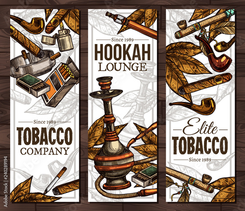 Templates with color sketch cigarettes, cigars, hookah