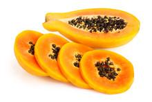 Ripe Slice Papaya Isolated On A White Background