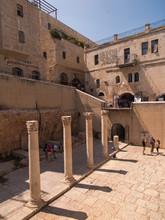 JERUSALEM,ISRAEL - JULI 13, 2015: Cardo Maximus, Roman Pillars .The Remains Of An Ancient Roman Pillars Located In Jewish Quarter