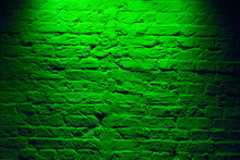 Grunge Neon Green Brick Wall Texture Background. Magenta Colored Brick Wall Texture Architecture Pattern.