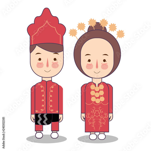 Foto  Southeast Maluku province wedding Couple, cute Indonesian traditional clothes co