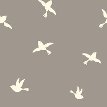 Little Birds On Natural Ground Seamless Repeat Pattern