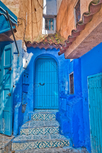 Picturesque corner of the medina of Chefchaouen, Morocco