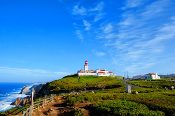 Fototapeta na wymiar Cape Roca lighthouse. Cabo da Roca most western point in Europe. Travel tourism landmark in Sintra and Lisbon, Portugal
