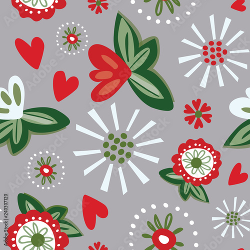 Fotografija  Quirky seamless floral vector pattern with red and white stylized flowers and small hearts on an warm gray background