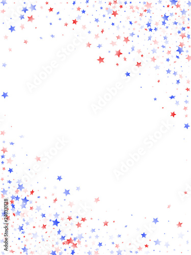 Flying red blue white star sparkles on white vector american patriotic background Canvas Print
