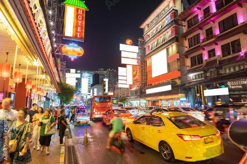 China Town called Yaowarat in the rush hour night, Bangkok Thailand.