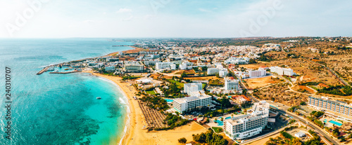 Photo  Nissi beach in Ayia Napa, clean aerial photo of famous tourist beach in Cyprus