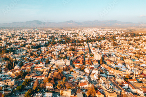 Wall Murals Northern Europe Aerial high altitude view of the iconic walled capital, Nicosia in Cyprus