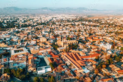 Aerial high altitude view of the iconic walled capital, Nicosia in Cyprus Fototapet