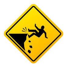 Cliff Fall Danger Vector Sign