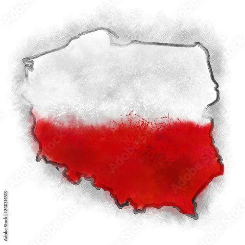 Cuadros en Lienzo  map of Poland with flag