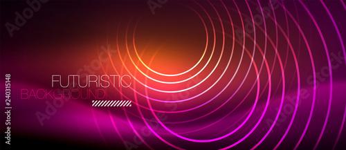 Neon glowing techno lines, hi-tech futuristic abstract background template with Tapéta, Fotótapéta