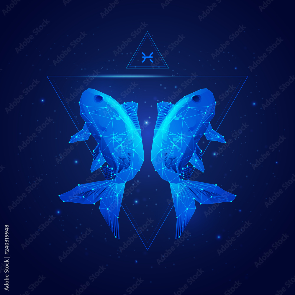 Fototapeta vector of pisces horoscope sign in twelve zodiac with galaxy stars background, vector of polygonal fish