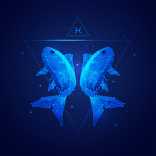 Vector Of Pisces Horoscope Sig...