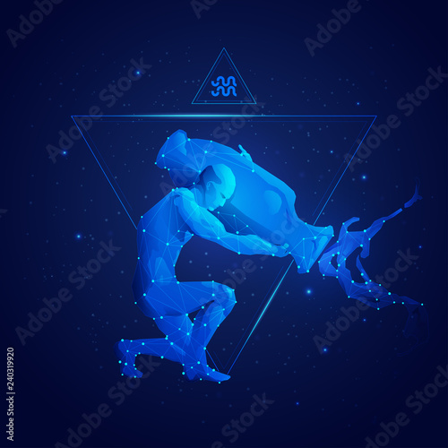 Photo vector of aquarius horoscope sign in twelve zodiac with galaxy stars background