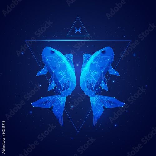 Photo vector of pisces horoscope sign in twelve zodiac with galaxy stars background, v