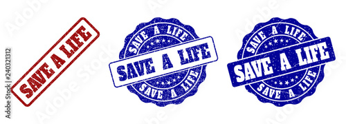 SAVE A LIFE grunge stamp seals in red and blue colors