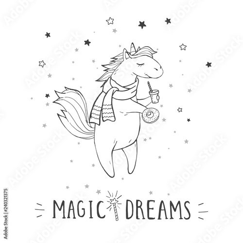 Vector Illustration Of Hand Drawn Cute Unicorn In Scarf With