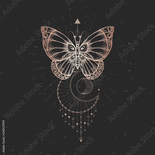 Photo sur Aluminium Papillons dans Grunge Vector illustration with hand drawn butterfly and Sacred geometric symbol on black vintage background. Abstract mystic sign.