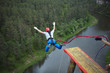 An extreme sportsman jumps on a rope from a great height. Ropejumping.