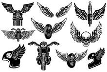Set Of Motorcycle Design Eleme...