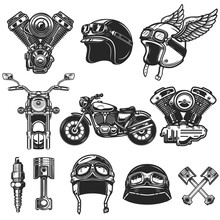 Set Of Motorcycle Design Eleme...