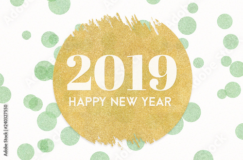 Happy New Year 2019 Word On Gold Circle Glitter On Light Green Dot