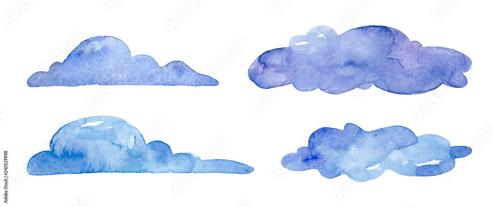 Fototapeta Watercolor blue clouds on white background