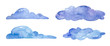 Watercolor blue clouds on white background