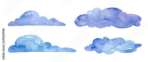 Obraz Watercolor blue clouds on white background - fototapety do salonu