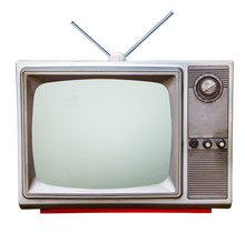 Classic Vintage Retro Style Old  Television With Cut Out Screen,old  Television With Old Tv Antennaon Isolated Background.