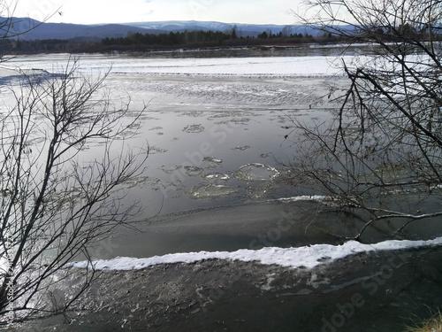 Fototapeta Ice on the lake.