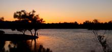Fisherman Fishing At Lake Murray At Sunset, La Mesa, San Diego, California
