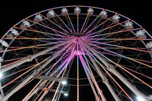 Ferris Wheels And Rides At Night At The San Diego County Fair In Del Mar California